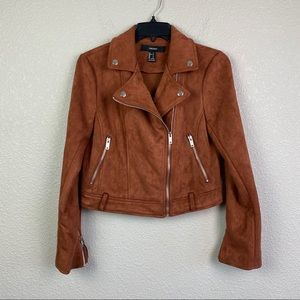 Forever 21 Small Rust Faux Suede Moto Jacket